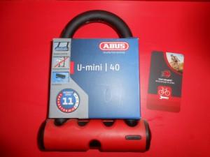 Велозамок ABUS 40 U-mini. Червоний - 1000 грн